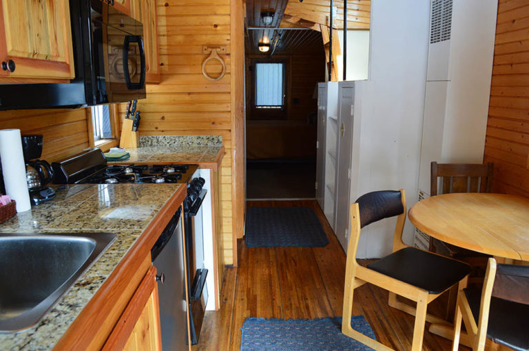 Kitchenette in Green Caboose - Cabin Rentals in Glacier